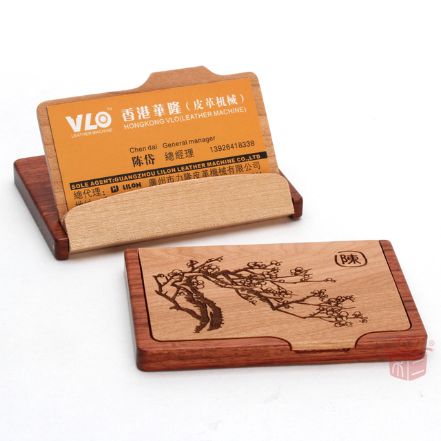 Fuji Levon Exclusive Custom Hard Wood Business Card Holder Customers To Send The Leadership Gifts