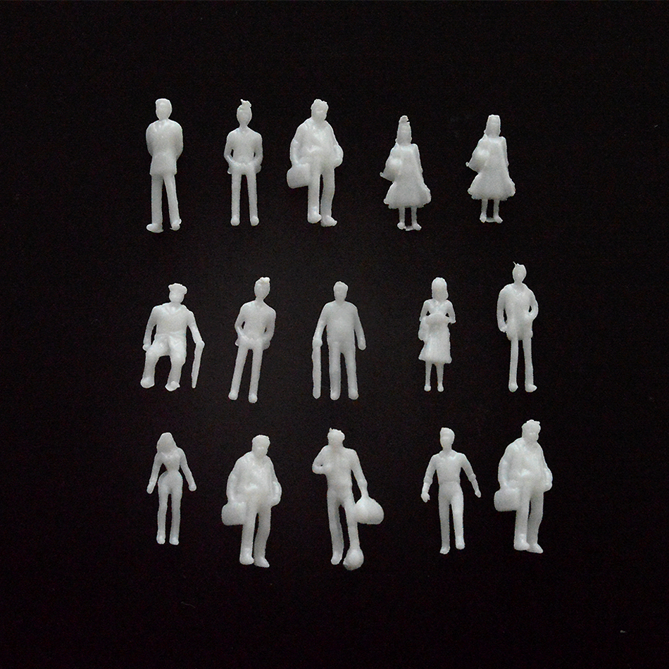 1/150 Scale Mini Figure White Color Architectural Model Human  Model ABS Plastic Peoples