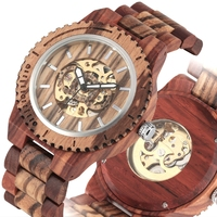 Men's Watch Wood Watches Top Luxury Self Winding Mechanical Automatic Retro Full Adjustable Band Timepieces Clock Male Relogios