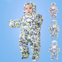 Clearance Outdoor wear Kids ski suit children down rompers with genuine fur hood warm boys girls winter jumpsuits for