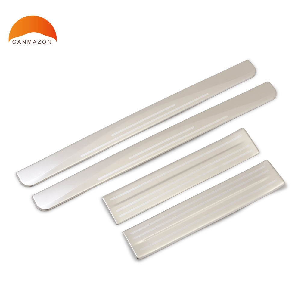 For Nissan Leaf 2017-2019 Stainless Steel Door Sill Plate Guards Threshold Trim Protector Strip Sticker Auto Accessories leaf print tasseled trim kimono