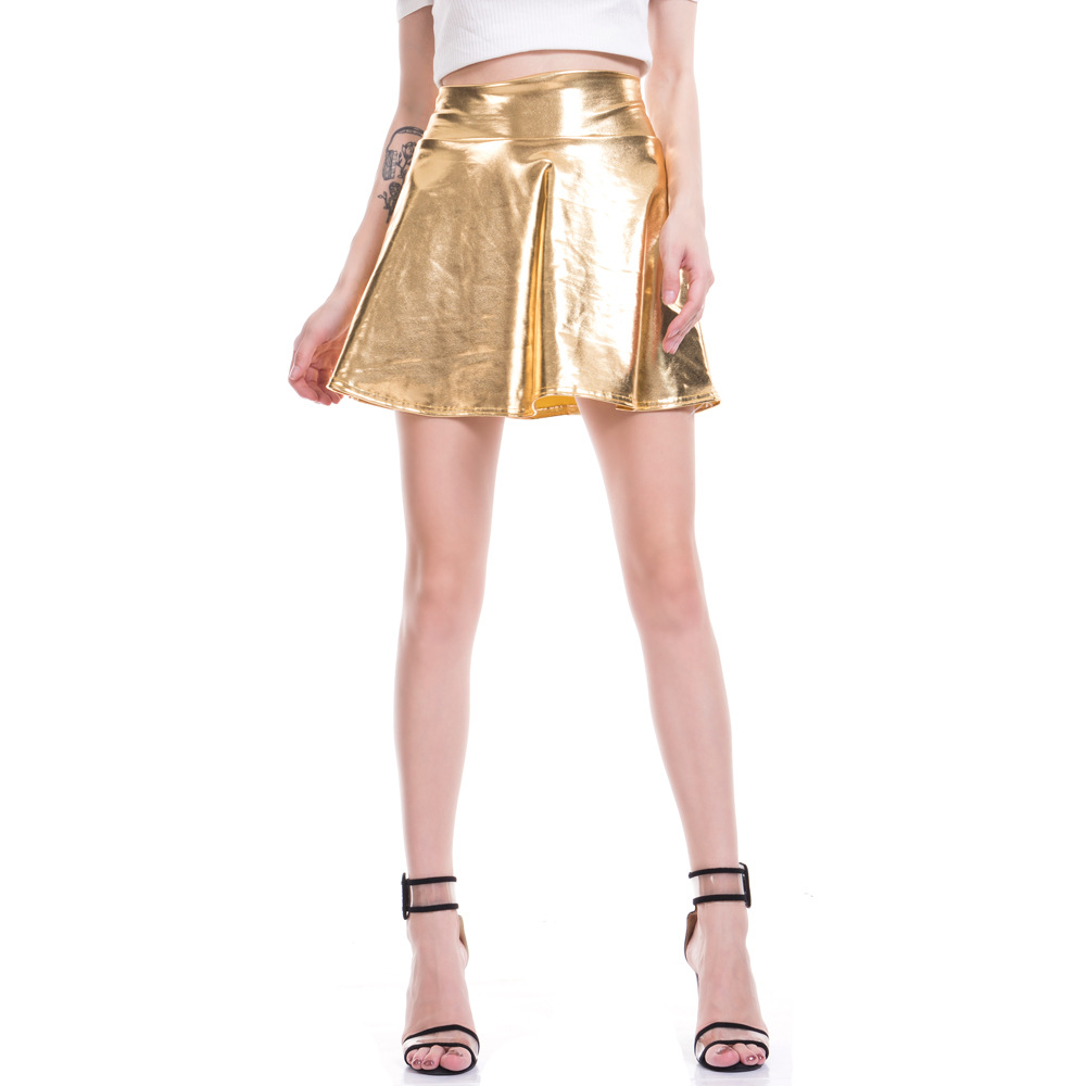 7cf0978199a55 LZCMsoft Women's Casual Fashion Flared Pleated A Line Circle Skater Skirt  Disco Wet Look Pleated Short Mini Skirt Shiny Metallic-in Skirts from  Women's ...