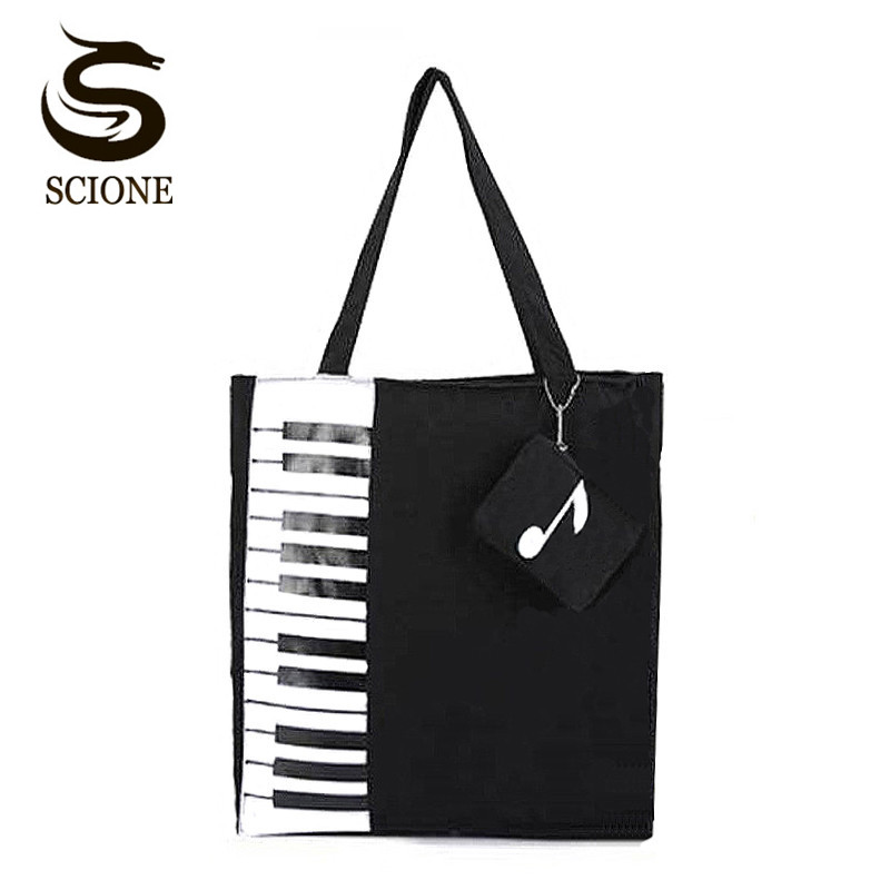 Scione New Canvas Women Bag Shopping Shoulder Bag Funny Design Piano Printing Handbag Beach Tote Woman Canvas Hand Bags 2PCS/Set aosbos fashion portable insulated canvas lunch bag thermal food picnic lunch bags for women kids men cooler lunch box bag tote