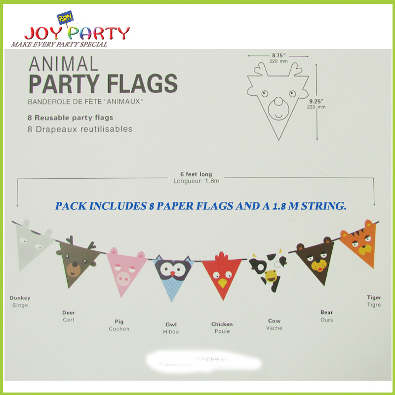 8 unids animal de dibujos animados de papel bandera bandera de la - Para fiestas y celebraciones - foto 2