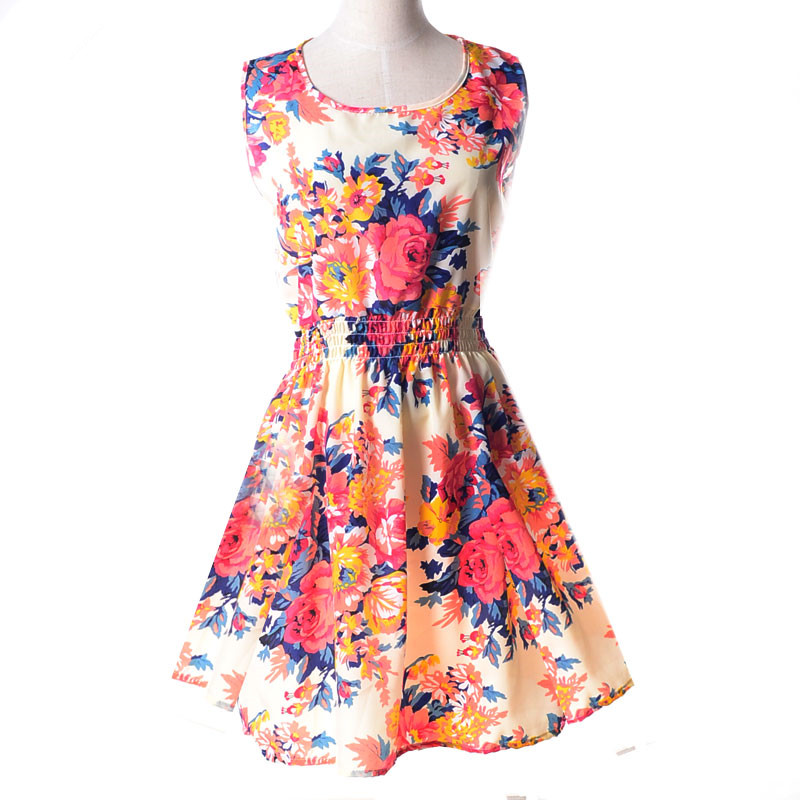 Fashion Tunic Women Dress 2017 big Size XXL O neck WOMEN DRESS Summer Style Floral Print