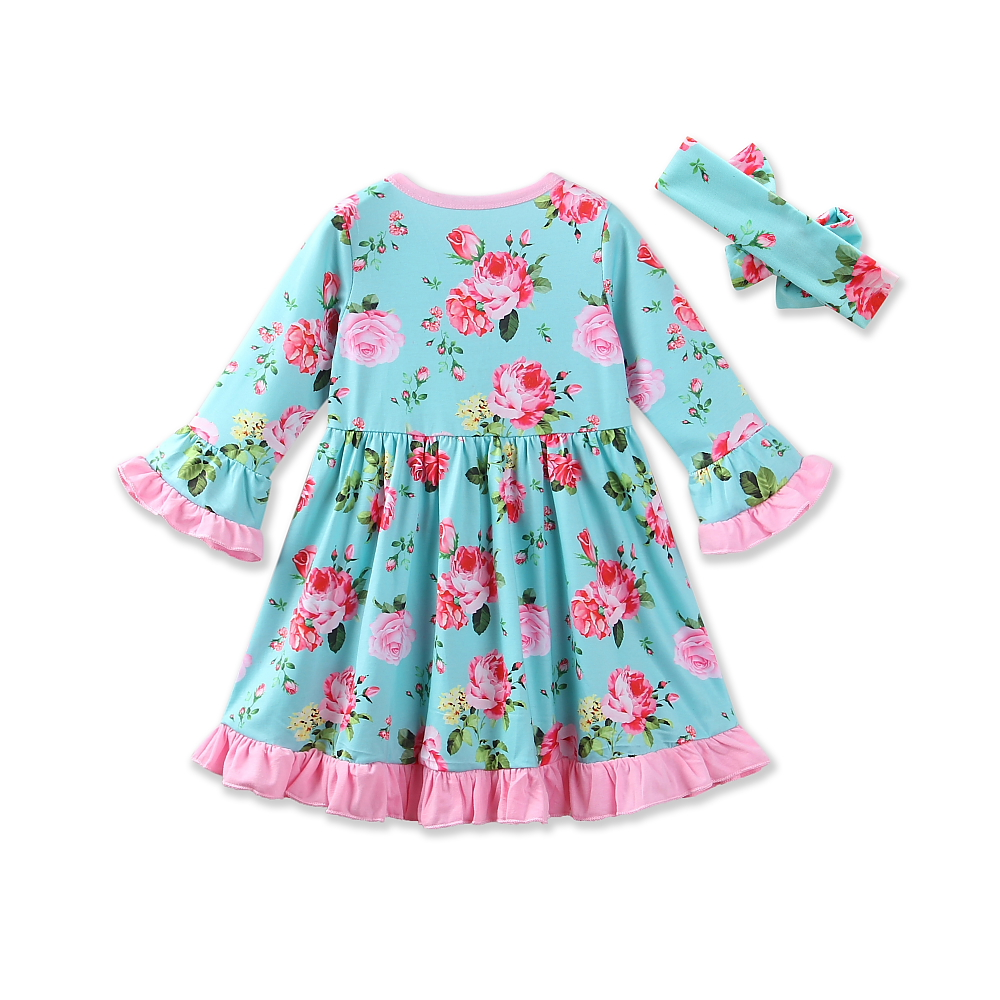 2018 Summer Retail Costume New Baby Girl Clothes Casual Style Girls Dress Cotton Floral Print Dress+headband 2pcs Kids clothing