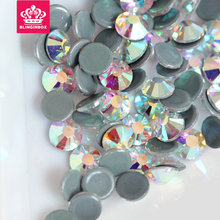 Hot Fix Rhinestones Iron On Rhinestones For Clothes High Quality SS12 SS16 SS20 SS30 Glass Crystal AB Hot Fix Stone Y2792(China)