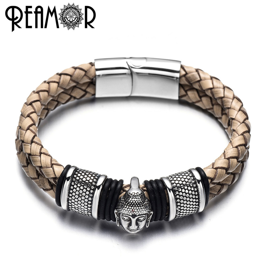REAMOR 316l Stainless Steel Thailand Buddha Head Bracelets Bangles Brown Weave Leather Bracelet With Magnetic Clasp Men Jewelry