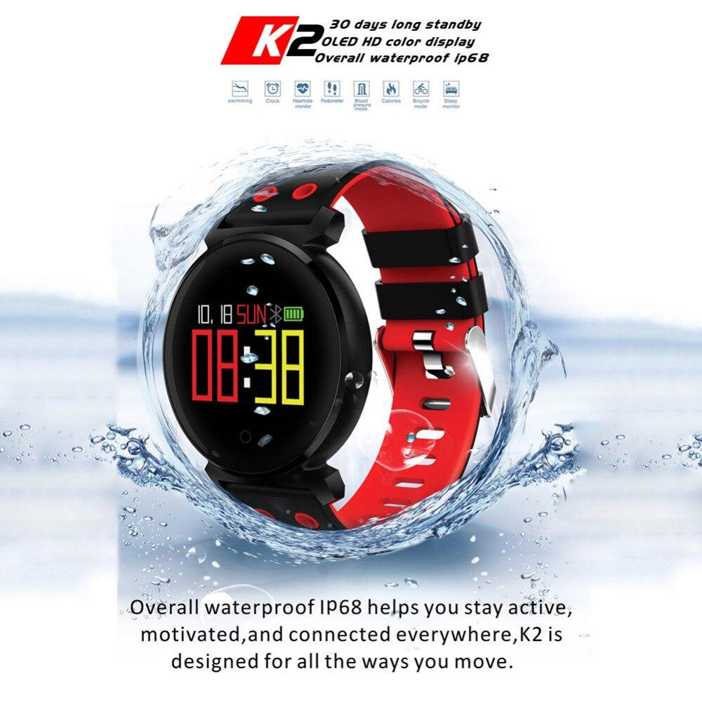 K2 3D arc Bracelet intelligent tension artérielle moniteur de fréquence cardiaque moniteur d'oxygène sanguin 0.95 pouces coloré OLED natation Bracelet intelligent