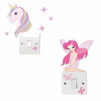 Cute Horse Fairy Girl Light Switch Sticker Pink Vinyl Interesting Wall Art Decals For Kids Girls Bedroom Home Decor
