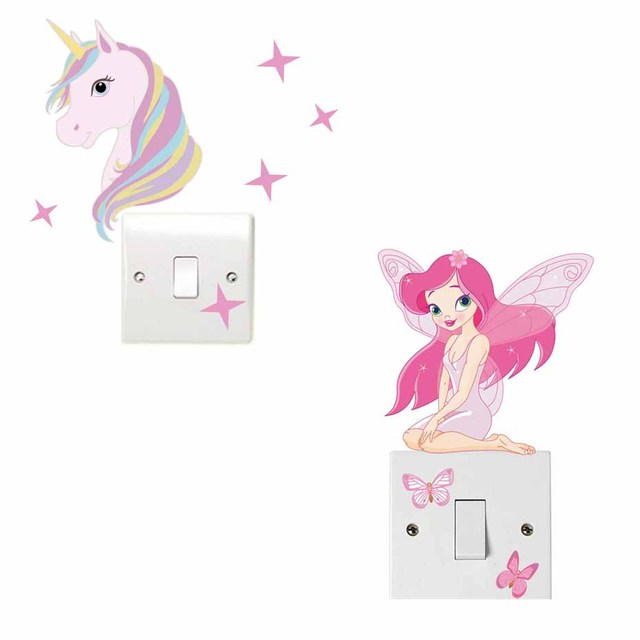 Cute Horse Fairy Girl Light Switch Sticker For Kids Girls Bedroom - Free Shipping
