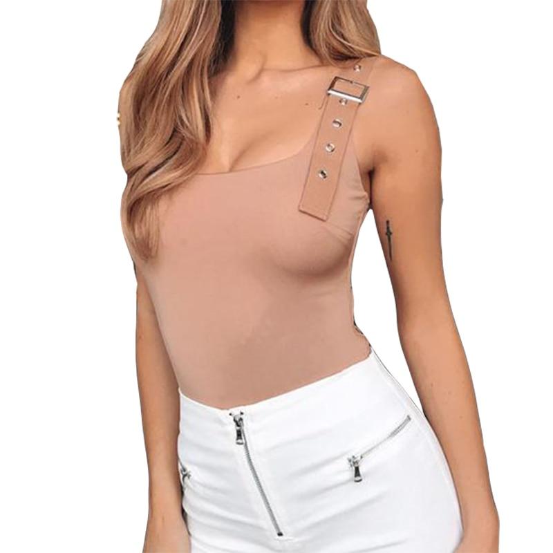 2019 Neue Sommer Body Solide Sleeveless Frauen Strampler Sexy Bodysuit Dünne Metall Taste Weibliche Backless Club Körper Top Gv132 Um Zu Helfen, Fettiges Essen Zu Verdauen
