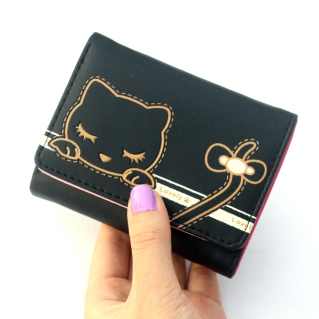 Lovely Cat Printed Compact Leather Girl's Purse