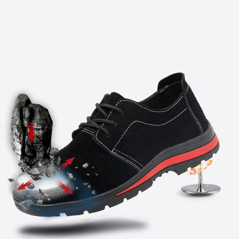 Hommes De Bottes Respirant Embout Au Sécurité En Anti crevaison Noir Acier Travail Air slip Plein Chaussures Protection Anti Daim marron Yfg76yb