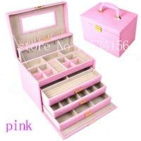 Роскошный большой 4 слоя розовая кожа шкатулка серьги Упаковка Дисплей Коробка Подарочная коробка (28.*20*19.5 см)