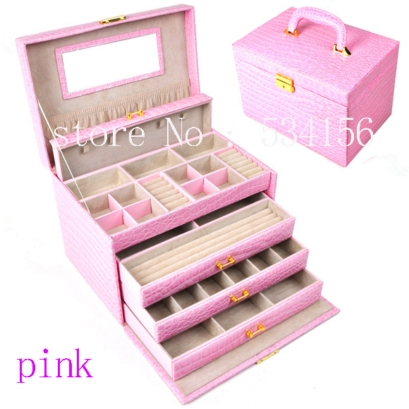 luxurious big 4 layers pink leather jewelry box earrings jewelry packaging display box gift box (28. * 20 * 19.5 cm) цена