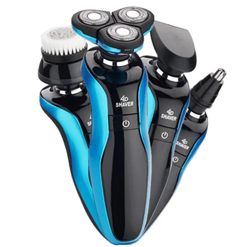 Homens Barbeador Elétrico recarregável Lavável Wet dry Máquina Aparador de Barba Barbear Shaver Face Care 4D Flutuante Navalha Barbeador Elétrico USB