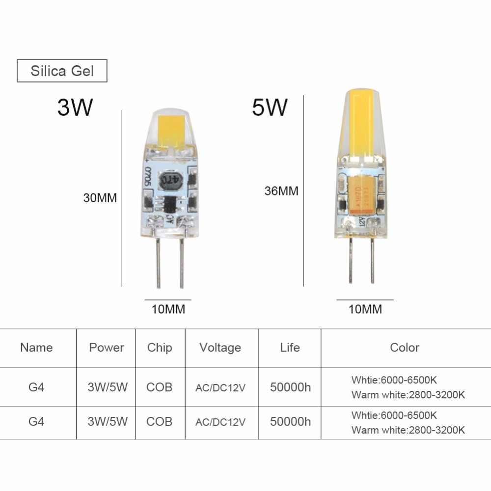 Foxanon LED G4 G9 Lamp Bulb Dimming AC/DC 12V 220V 110V 3W 5W COB SMD 3014 2835 LED Lights Chandelier Replace Halogen Spotlight