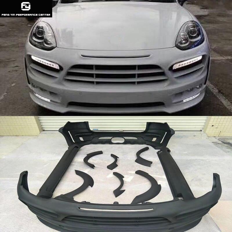 958.2 UM estilo saias laterais FRP Wide body kit amortecedor dianteiro amortecedor traseiro rodas de sobrancelhas do meio para fora para Porsche Cayenne 958.2 15-17