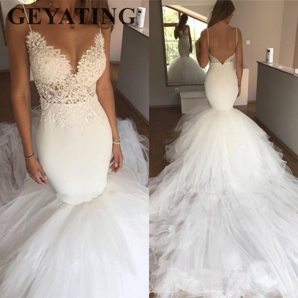 Lace Mermaid Wedding Gown With Straps: Sexy Backless Vintage Lace Mermaid Wedding Dress Chapel