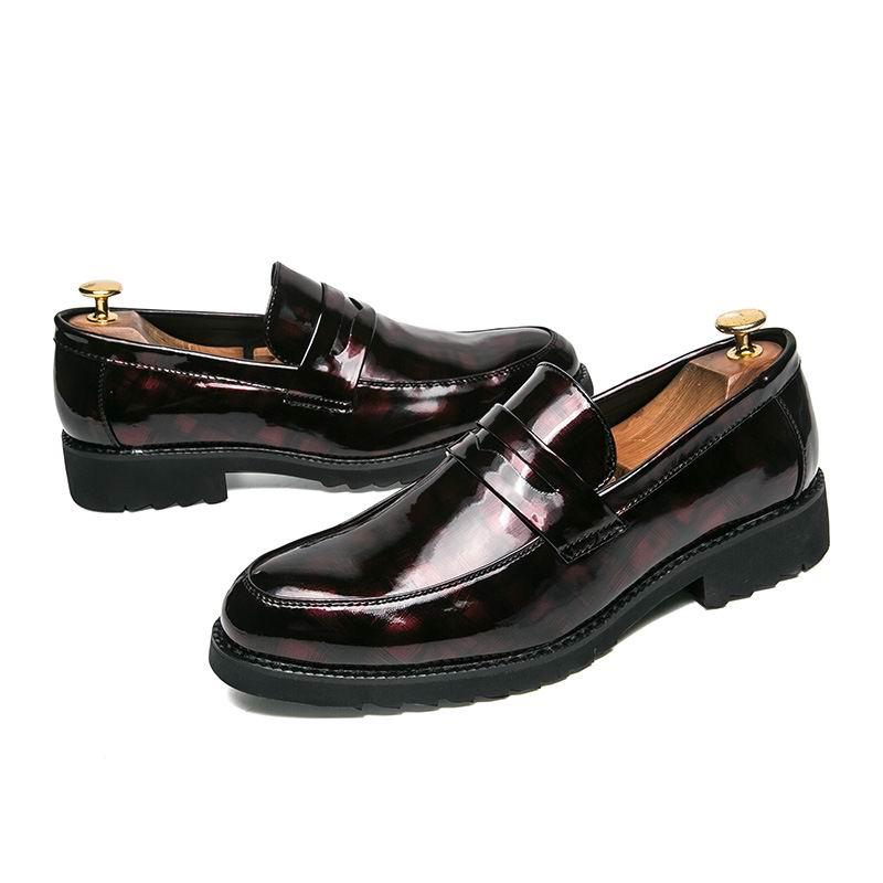 Arrival Preto Tamanho Errfc Toe Sapatos Deslizamento Casual 44 Partido Impressão Photo Para Rodada vermelho Pu Moda 38 Em Couro Lazer Homens New As Da trTqScwT5y