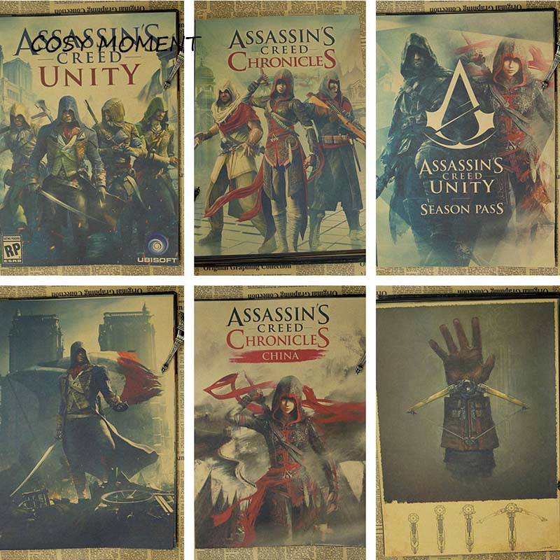 COSY MOMENT Assassins Creed Black Flag B gather Game Poster Vintage Kraft Paper Home Wall decoration Poster QT272