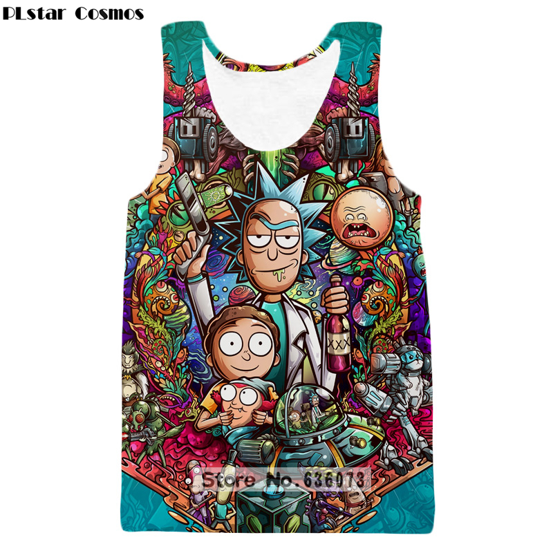 PLstar Cosmos 2018 summer The New Fashion   Tank     tops   Cartoon Rick and morty Print 3D Vest Original style Hipster vest ZV48