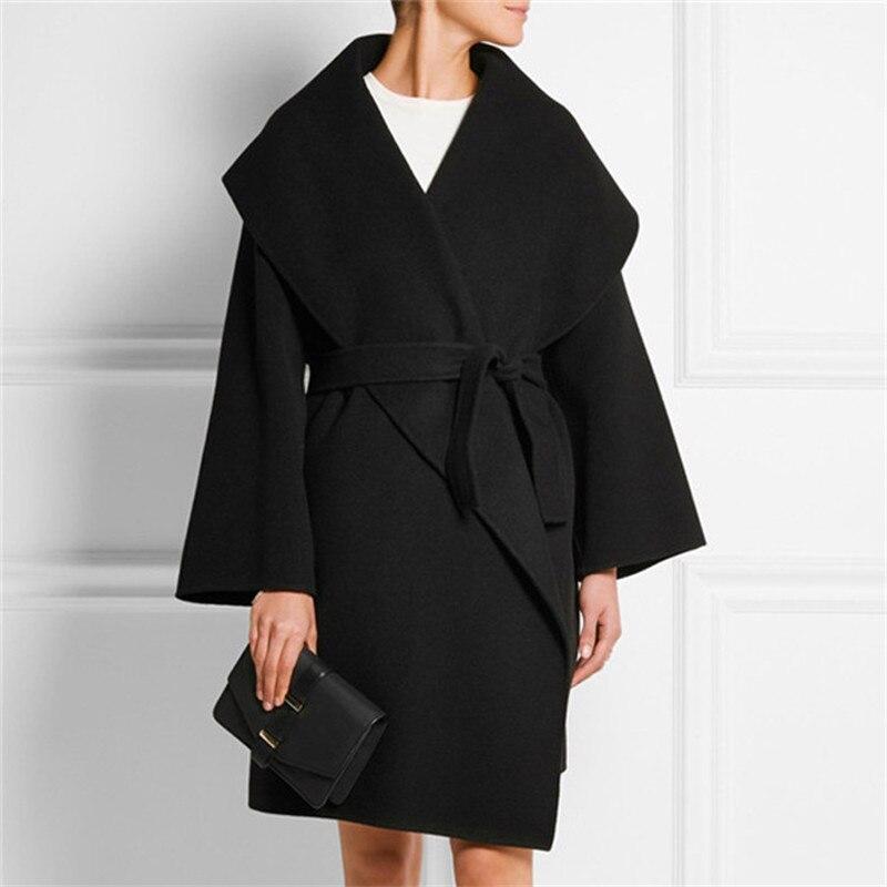 Qualité Vestes Solide Manteau Vintage Hiver Femme Laine Automne Outwear Long Surdimensionné Mélanges Haute Chaude Manteaux Femmes SfqPawtT