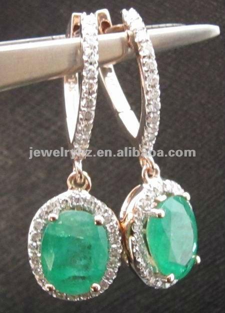 Wholesale-Jewelry-14KT-Rose-Gold-Natural-Green-Emerald-Diamonds-Dangle-Earrings