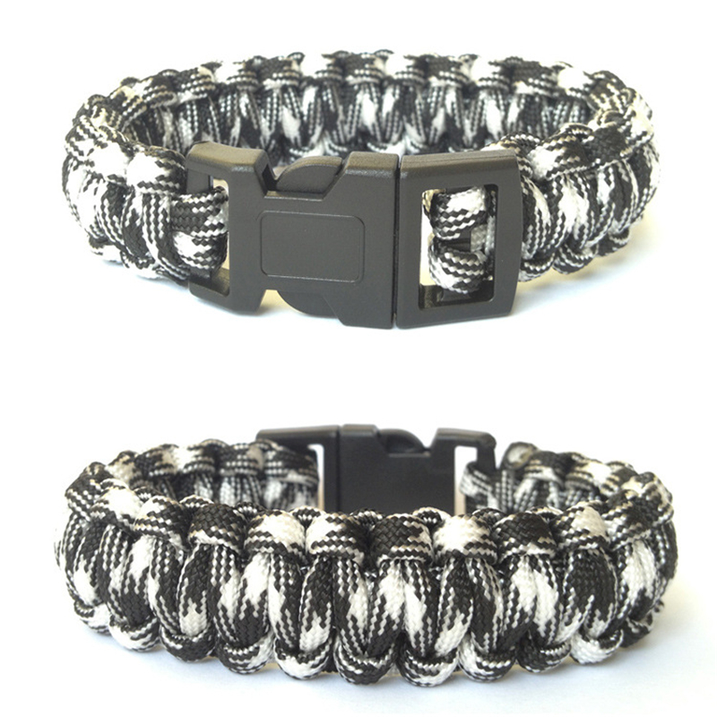 Vintage Braided Bangles Men Plastic Buckle Survival Bracelet Paracord Outdoor Camping Emergency Rescue Rope Bracelets For Women