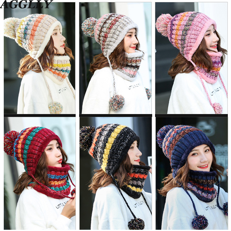 Winter Women Black/pink/gray/navy/wine/red Global Caps Scarves Knitted Wool Warm Thick Plus Velvet Windproof Hat Scarf Set 125