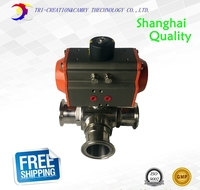 1 1/4 DN25 Pneumatic sanitary ball valve,3 way 304 food grade stainless steel valve_double acting T port valve