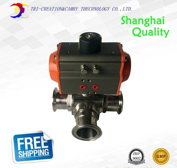"1 1/4"" DN25 Pneumatic sanitary ball valve,3 way 304 food grade stainless steel valve_double acting T port valve"