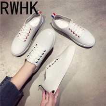 RWHK Breathable white shoes female summer 2019 Korean version of the wild flat casual sports shoes hollow single shoes tide B351 b351 21 impeller fit lp200 wp200 50hz