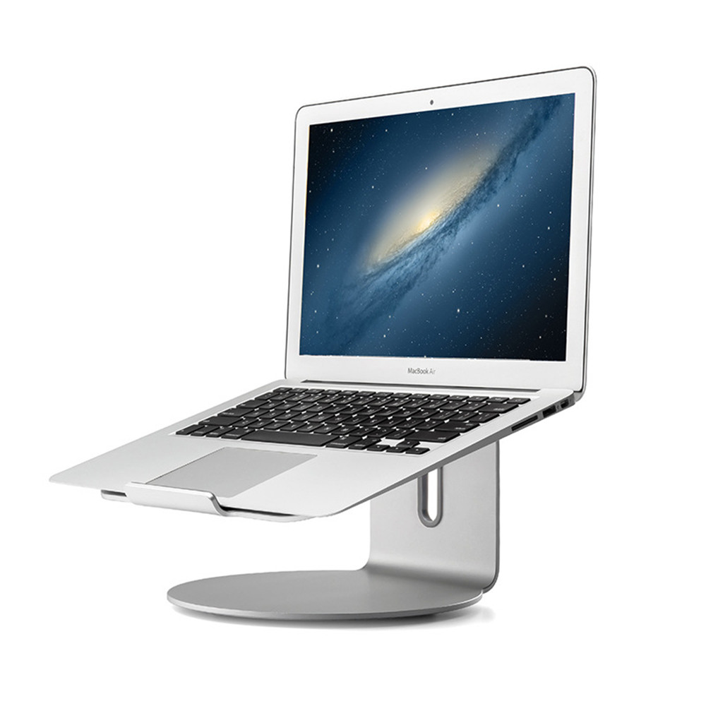 Silver Aluminum Alloy 11 to 17 inch Notebook Stand 360 Degree Rotating Base Lpatop Holder Office Desk Mount for Macbook Air Pro