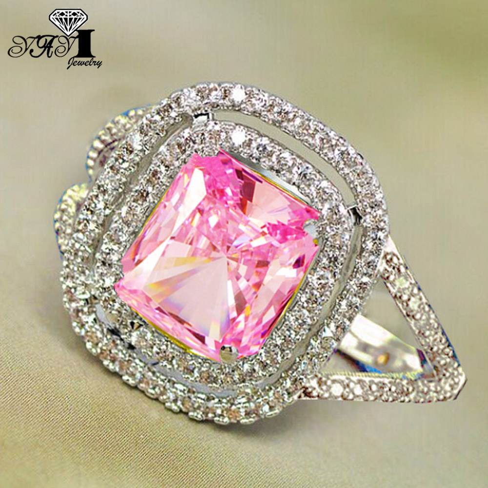YaYI Fashion Women Jewelry Ring 3.9CT Pink Zircon Silver Color ...
