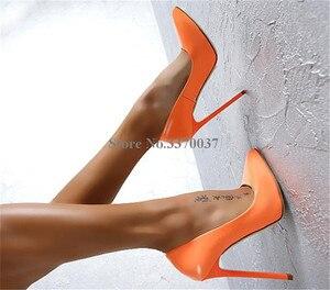 Image 4 - Zapatos de tacón alto de charol para mujer, calzado femenino de tacón de aguja, de estilo clásico, Sexy, rosa, morado, puntiagudos, para Club nocturno