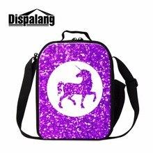 Dispalang Посланник Обед сумка фиолетовый кулер сумки для детей Единорог Pattern Термальность Обед Контейнер для Обувь для девочек школьная Еда