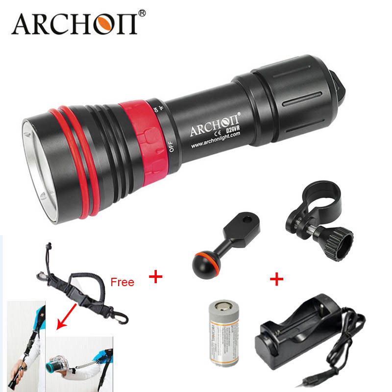 Diving Flashlight ARCHON D26VR W32R 2000LM White Red Video Light Photography Torch Underwater Light No batteryDiving Flashlight ARCHON D26VR W32R 2000LM White Red Video Light Photography Torch Underwater Light No battery