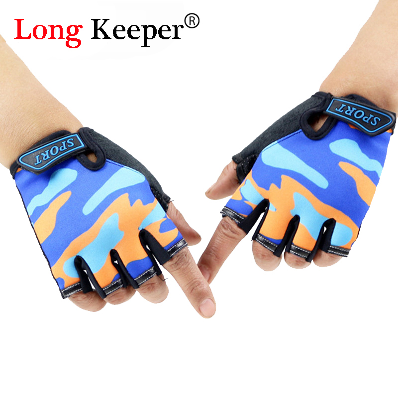 Long Keeper Sports Gloves Fitness Exercise Training Gym Gloves Half Finger Weightlifting Children Gloves Multifunction for Kids ...