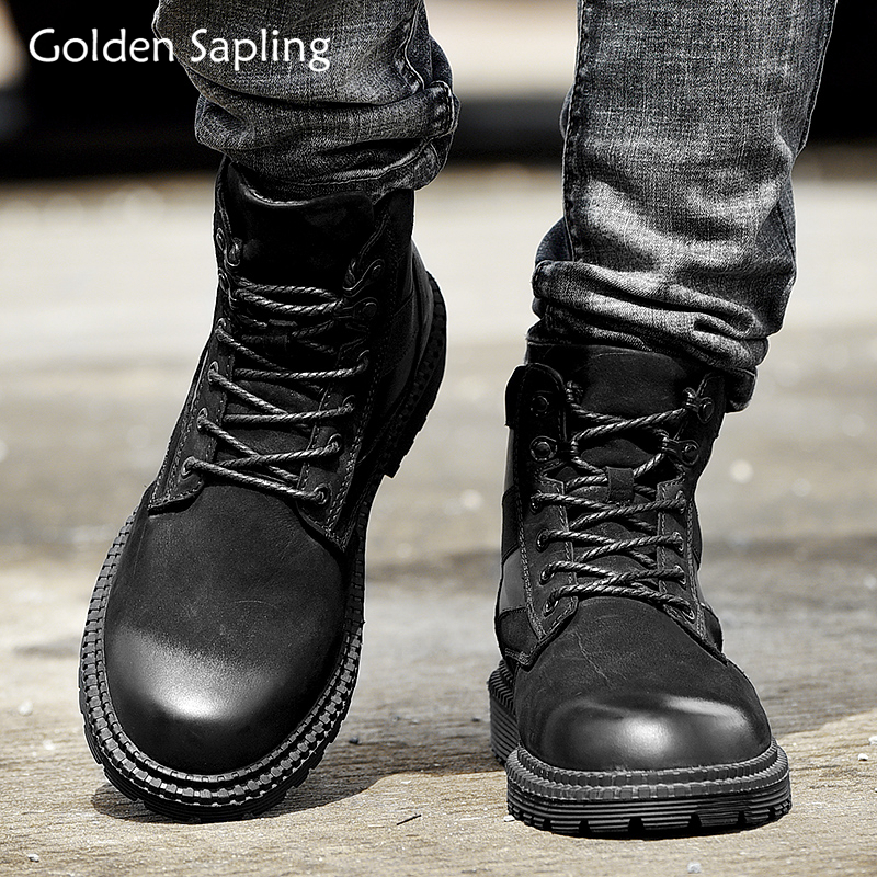 Golden Sapling Outdoor Hiking Boots Men's Tactical Shoes Military High Top Leather Sneakers Men Breathable Trekking Shoes Men outdoor shoes men sneakers women military camping tactical boot high top climbing shoes trekking boots hiking shoes men sneakers