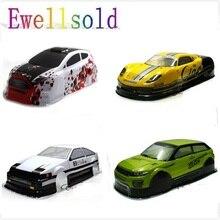 Ewellsold 1/10 ölçekli on yol Drift araba boyalı PVC gövde kabuk 190MM için 1/10 radyo kontrollü araba çoklu seçenekleri 1 adet
