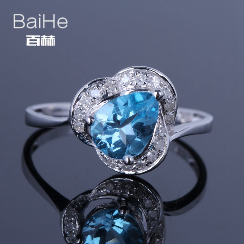 BAIHE Solid 14K White Gold(AU585)1.2CT Certified Blue Flawless Genuine Natural Blue Topaz Wedding Women Trendy Fine Jewely Ring