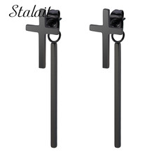 Punk Cross Strip Earrings Stainless Steel Titanium Small Metal Chain Black Women