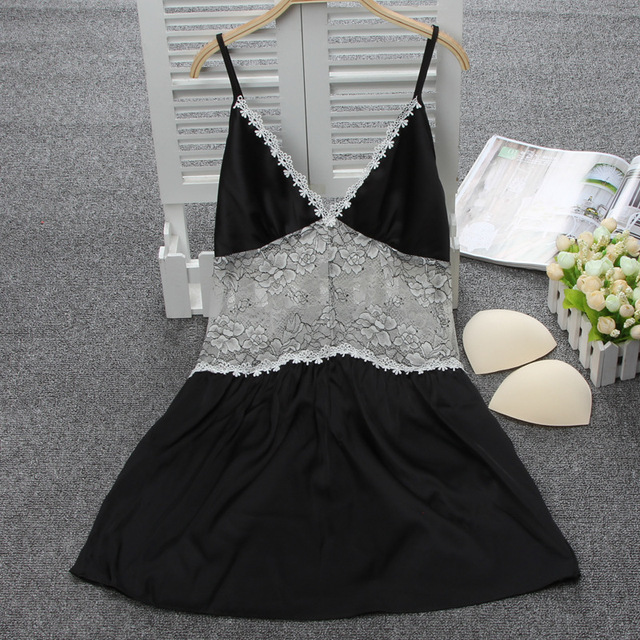 womens black color nightwear free shipping sexy lace suspenders sleepshirts new arrival christmas gifts for wife