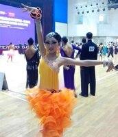 Aanpassen multi kleuren hoogwaardige oranje kwastje bloem latin danswedstrijd jurk voor vrouw en meisje rumba/samba kostuums