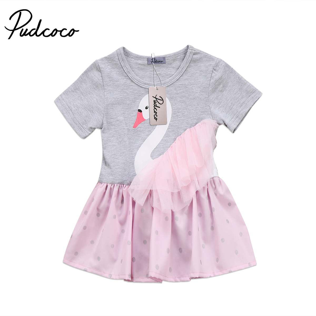 Cute Newborn Baby Girl Swan Cotton Short Sleeve Romper Dress Lace Dot Patchwork Dress Clothes