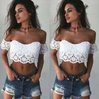 Fashion Ladies Clothing Women Fashion Summer Lace Padded Crop Tops Off Shoulder Blouse Solid Color Casual
