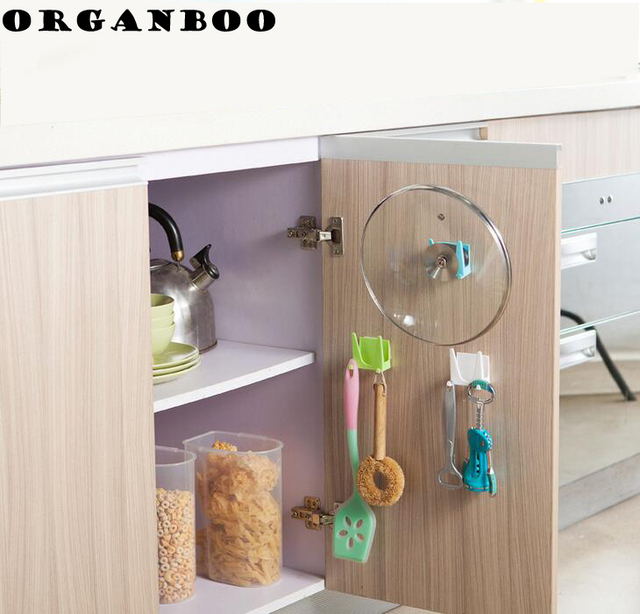 Us 1 38 14 Off Organboo 2pc Set Cabinets Wall Pot Covers Double Side Multipurpose Hooks Kitchen Organizer Prateleira Storage Decorative Shelves In