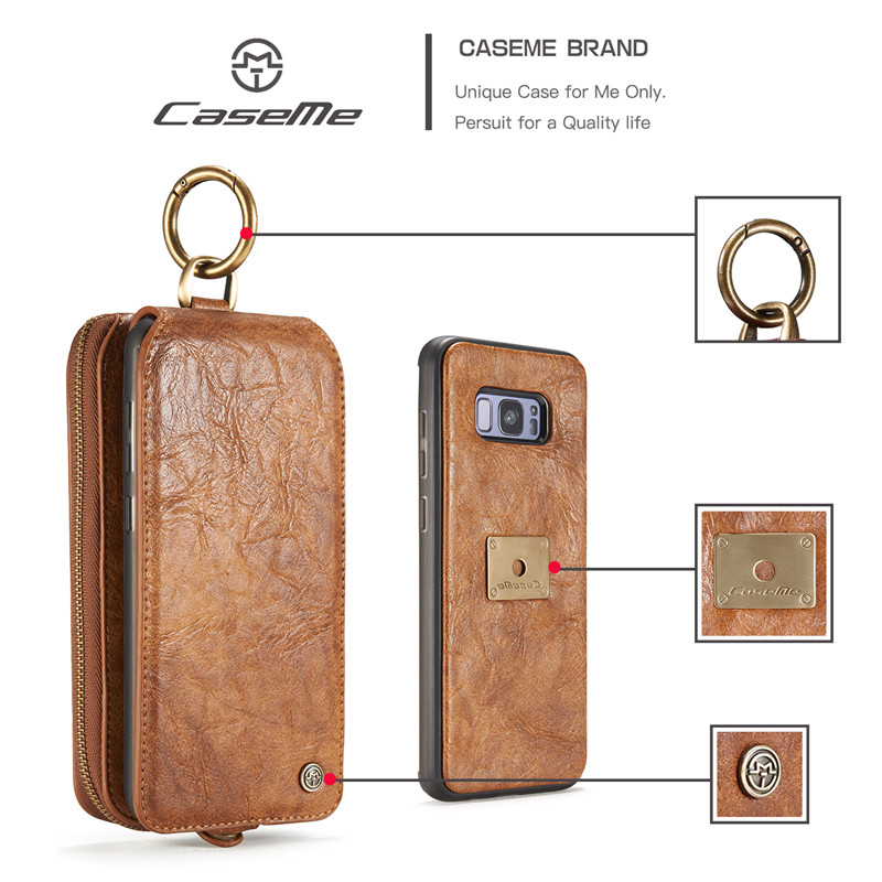 CaseMe Luxury Genuine Leather Cover Case For Samsung Galaxy S8 Plus Phone Case Multi-function Removable Magnet Stand Wallet Bags